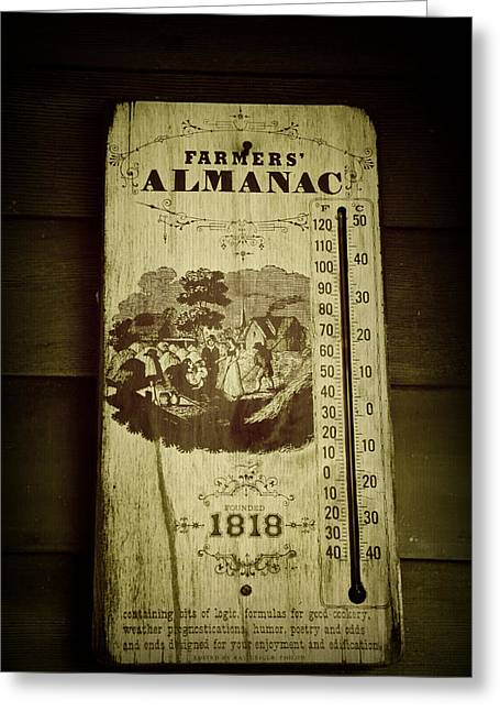 Farmers Thermometer Greeting Card by Laurie Perry