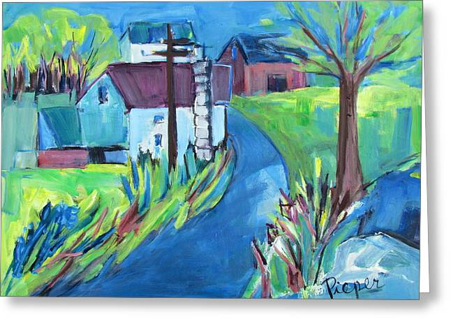Farmhouse In Spring Again Greeting Card by Betty Pieper