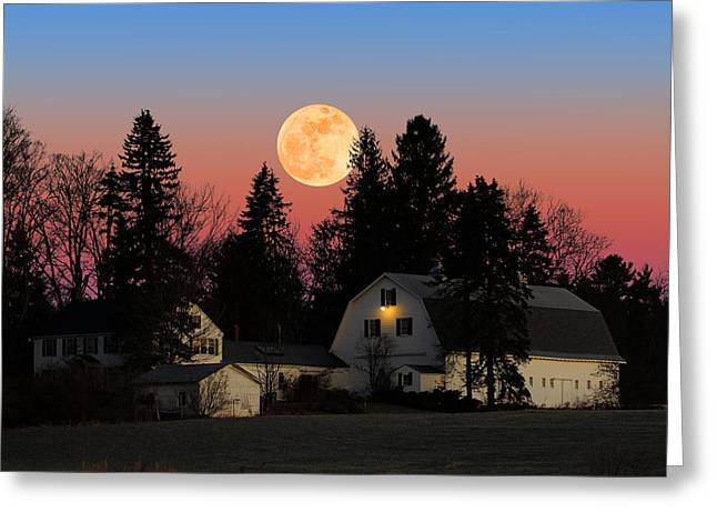 Greeting Card featuring the photograph Farmhouse Moonrise by Larry Landolfi