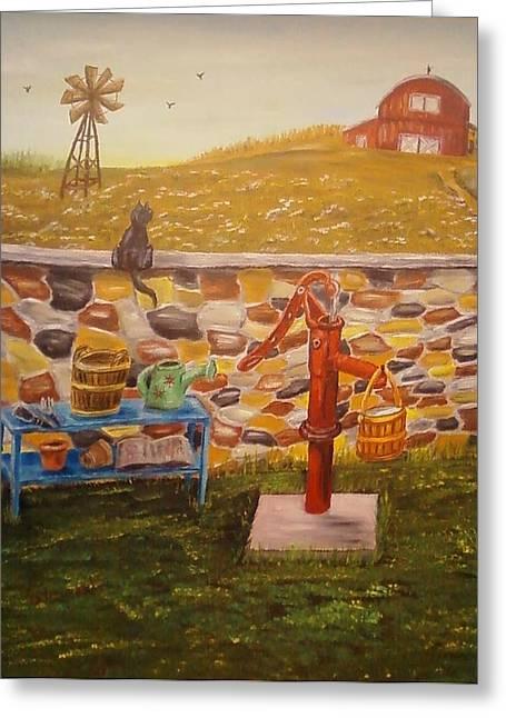 Farmhouse Waterpump Greeting Card by Nancy Stewart