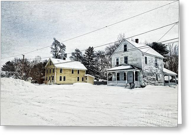 Farmhouses In The Snow Greeting Card by HD Connelly