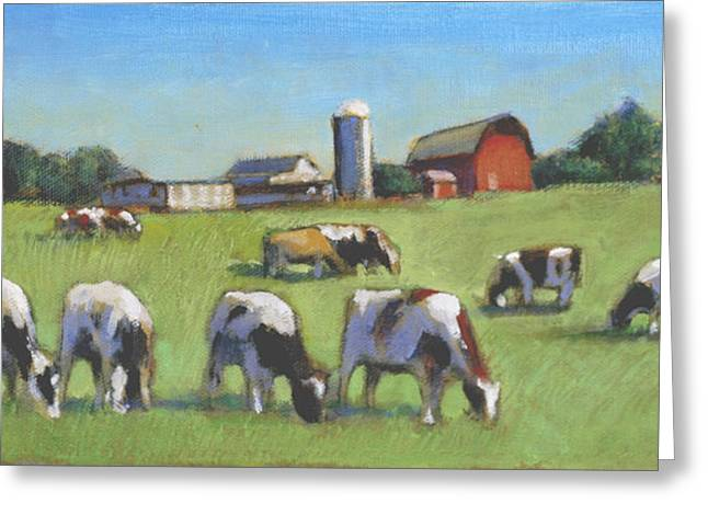Farming In The Dell Greeting Card by David Zimmerman