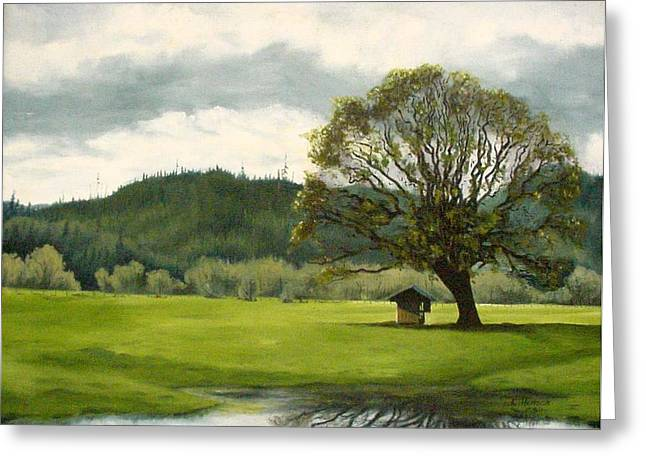 Greeting Card featuring the mixed media Farmland Hwy 36 by Kenny Henson