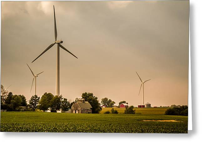 Farms And Windmills Greeting Card