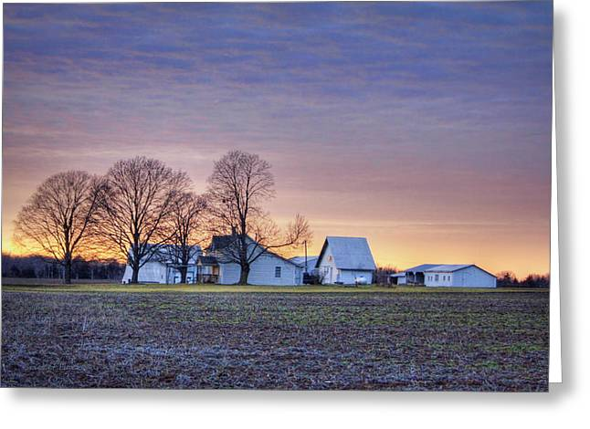 Farmstead At Sunset Greeting Card