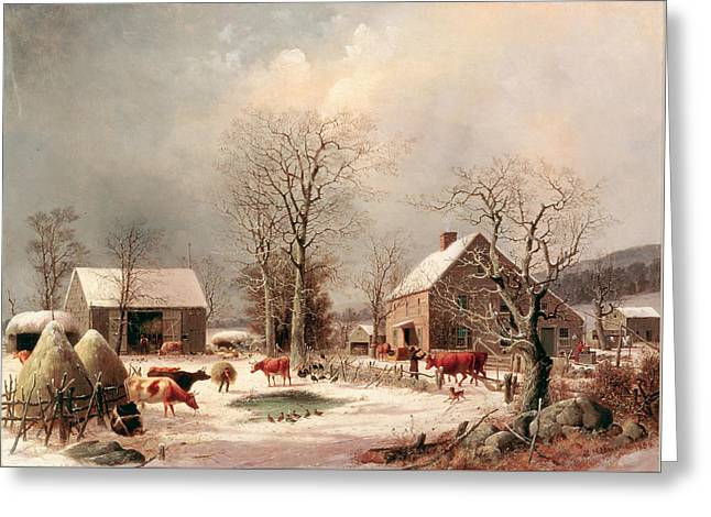 Farmyard In Winter Greeting Card by George Henry Durrie