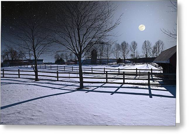 Greeting Card featuring the photograph Farmyard Winter Moonrise by Larry Landolfi