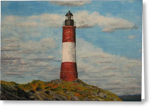 Greeting Card featuring the painting Faro Del Fin Del Mundo by Stan Tenney