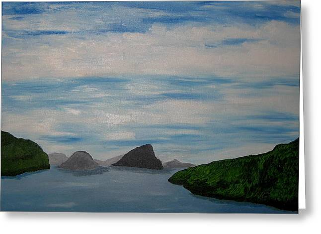Greeting Card featuring the painting Faroy Islands by Susanne Baumann