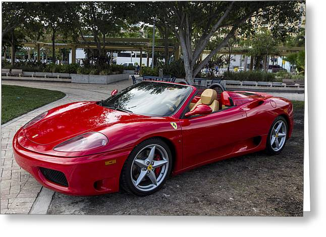 Ferrari Greeting Card by Debra and Dave Vanderlaan
