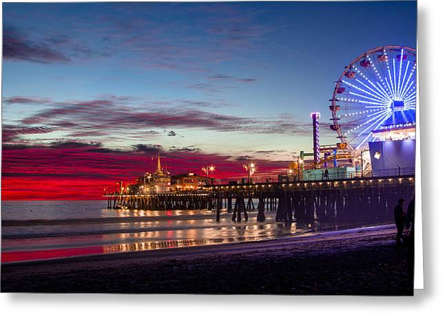 Ferris Wheel On The Santa Monica California Pier At Sunset Fine Art Photography Print Greeting Card