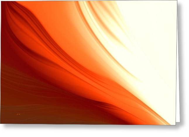 Greeting Card featuring the digital art Glowing Orange Abstract by Gabriella Weninger - David