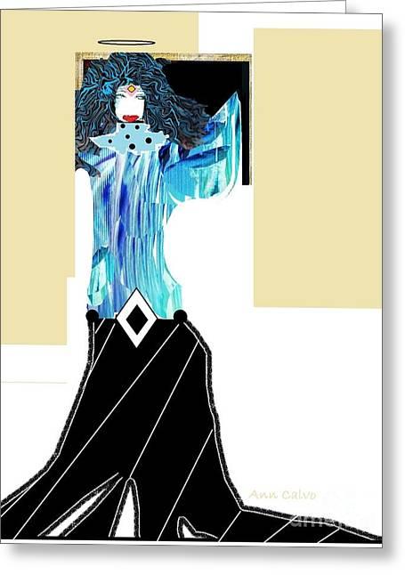 Greeting Card featuring the digital art Fashion Angel by Ann Calvo