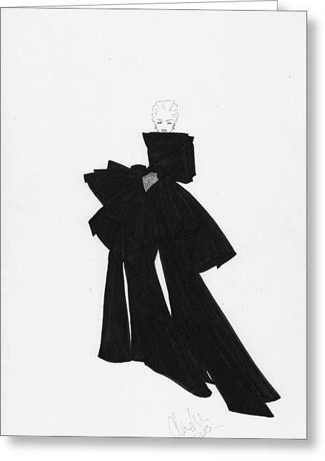 Fashion Art Black Bow Dress Illustration Greeting Card by Alex Newton