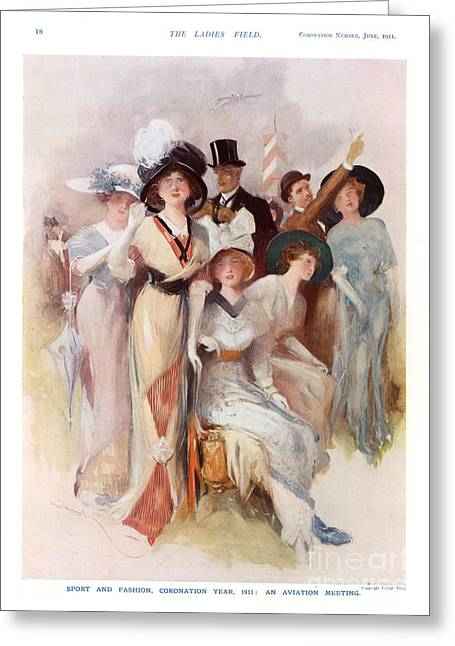 Fashion At Ascot Races 1911 1910s Uk Cc Greeting Card by The Advertising Archives