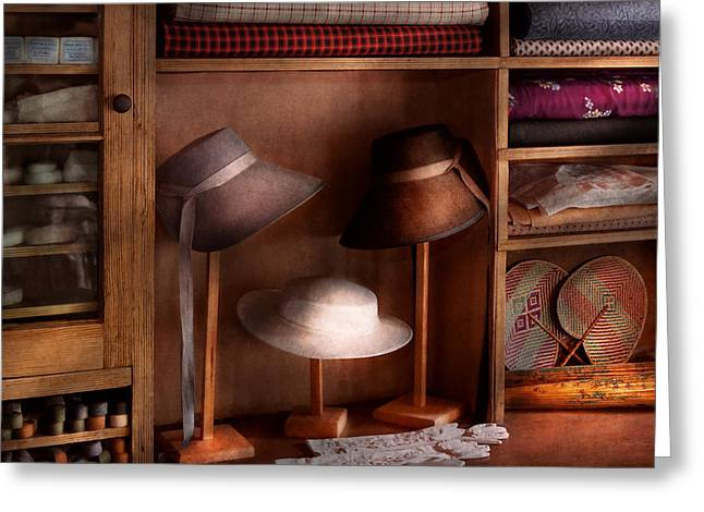 Fashion - Hats On Sale Greeting Card by Mike Savad