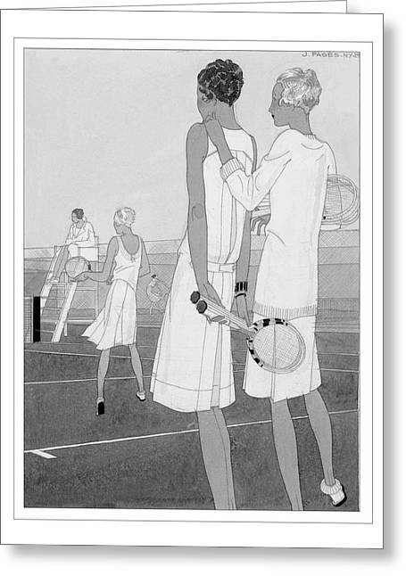 Fashion Illustration Of Women On A Tennis Court Greeting Card by Jean Pag?s