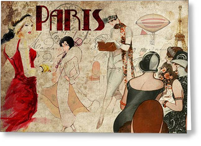 Fashion In Paris Greeting Card by Greg Sharpe
