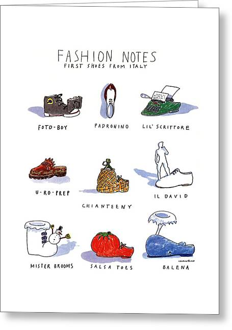 Fashion Notes First Shoes From Italy Greeting Card