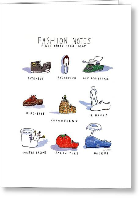 Fashion Notes First Shoes From Italy Greeting Card by Michael Crawford
