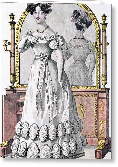 Fashion Plate Of A Lady In Evening Greeting Card by English School