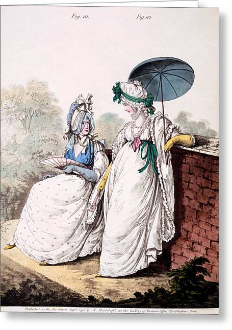 Fashion Plate Of Ladies Morning Dress Greeting Card by English School