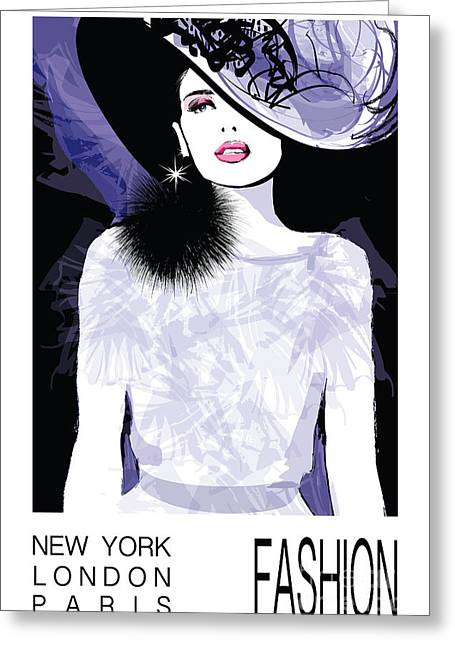 Fashion Woman Model With A Black Hat - Greeting Card