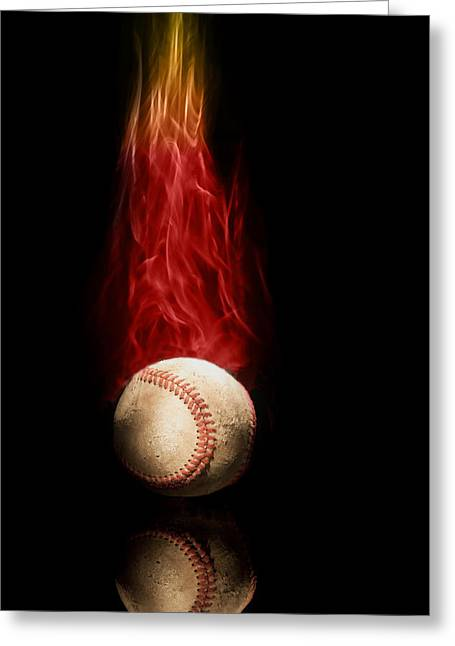 Fast Ball Greeting Card by Tom Mc Nemar