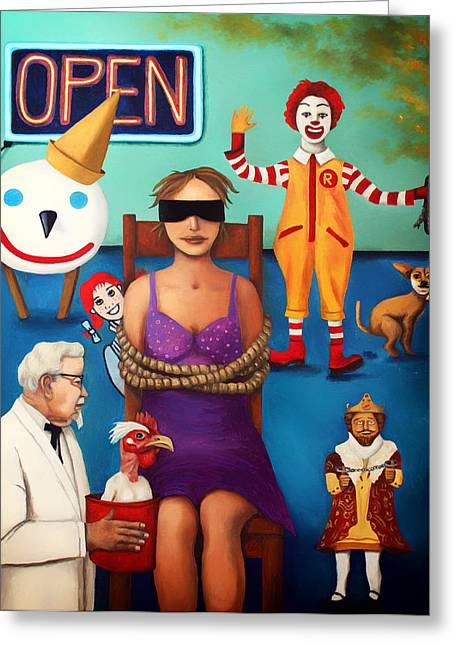 Fast Food Nightmare 3 Edit 5 Greeting Card by Leah Saulnier The Painting Maniac