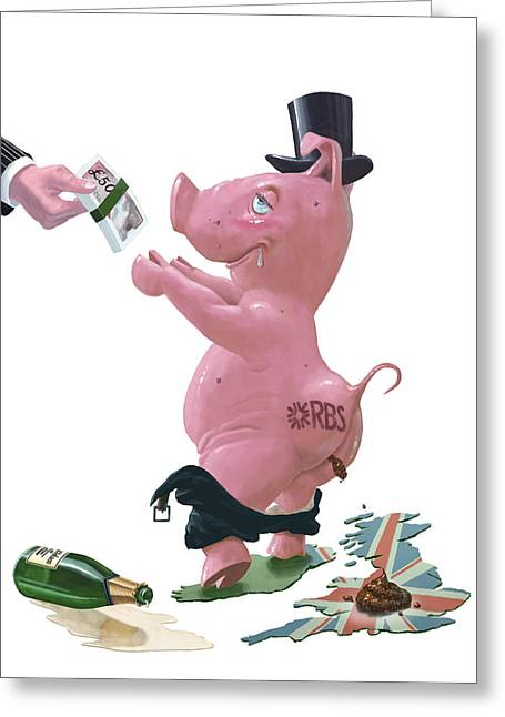 Fat British Bank Pig Getting Government Handout Greeting Card