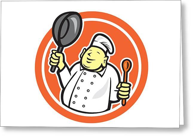 Fat Buddha Chef Cook Holding Pan Circle Cartoon Greeting Card
