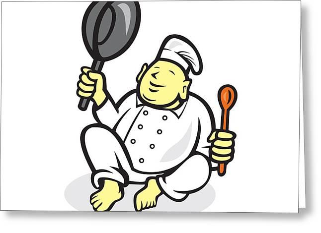 Fat Buddha Chef Cook Sitting Cartoon Greeting Card