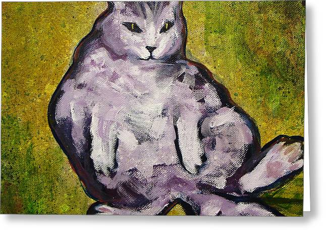 Fat Cat Greeting Card by Kenny Henson