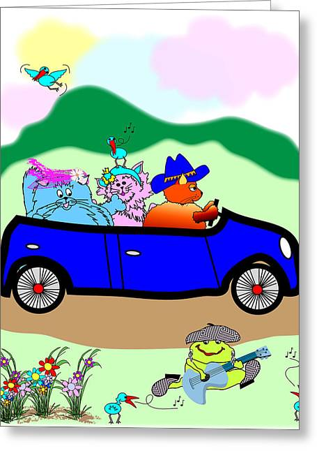 Fat Cats In A Car Greeting Card by Chris Morningforest