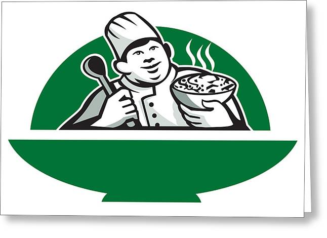 Fat Chef Cook Holding Bowl Spoon Retro Greeting Card by Aloysius Patrimonio