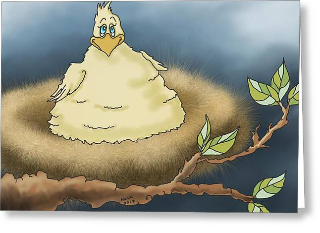 Fat Chicken In Tree Greeting Card by Hank Nunes