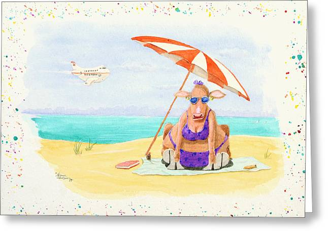 Fat Cow On A Beach 1 Greeting Card