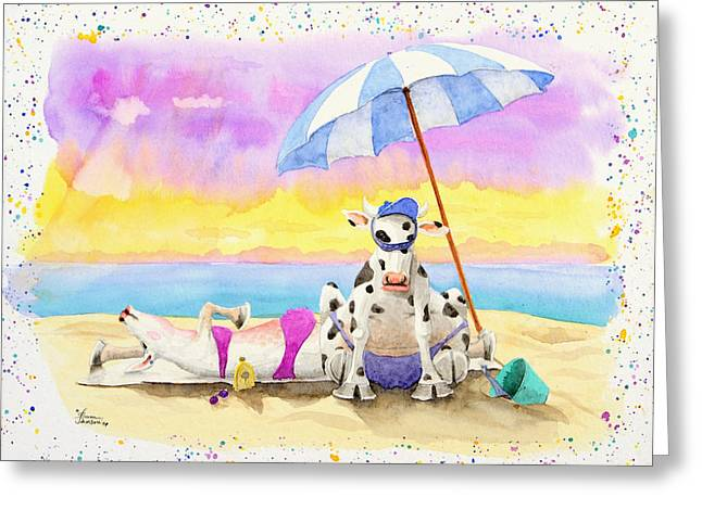Fat Cows On A Beach 2 Greeting Card