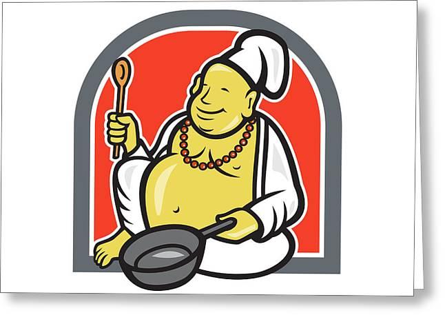 Fat Happy Buddha Chef Cook Cartoon Greeting Card