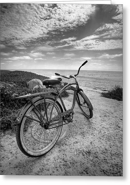 Fat Tire Black And White Greeting Card by Peter Tellone