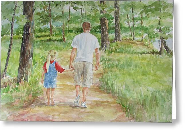 Father And Daughter Walk Greeting Card