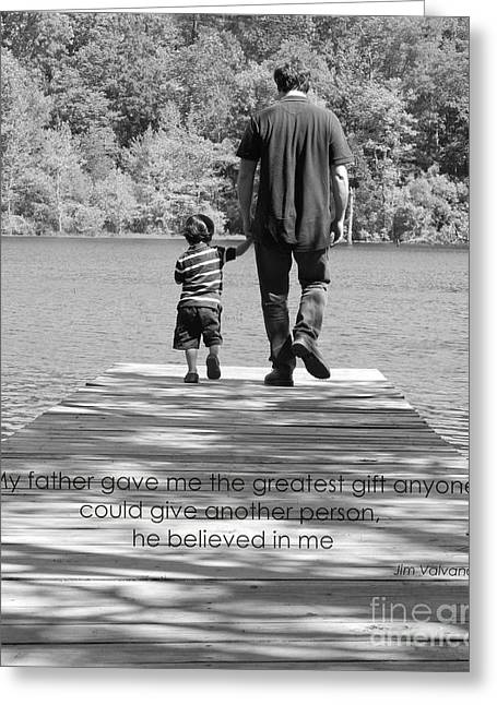 Father And Son Black White Greeting Card