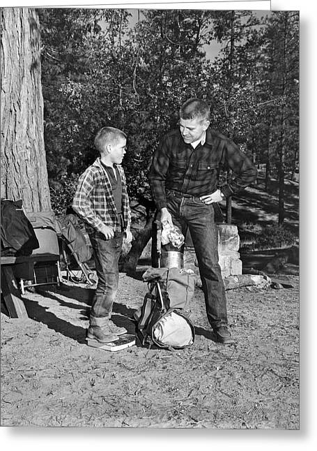 Father And Son Go Backpacking Greeting Card