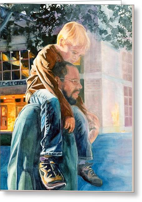 Father And Son In Morning Mist Greeting Card