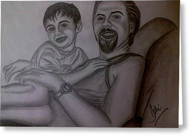 Father And Son Greeting Card by Syeda Ishrat