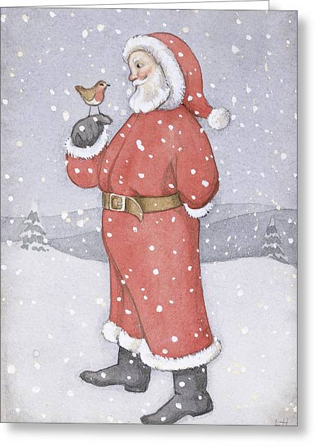 Father Christmas And A Robin Greeting Card by Lavinia Hamer