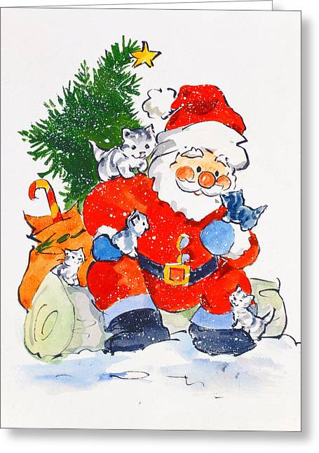 Father Christmas And Kittens, 1996  Greeting Card by Diane Matthes