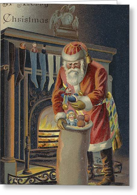 Father Christmas Filling Children's Stockings Greeting Card by English School