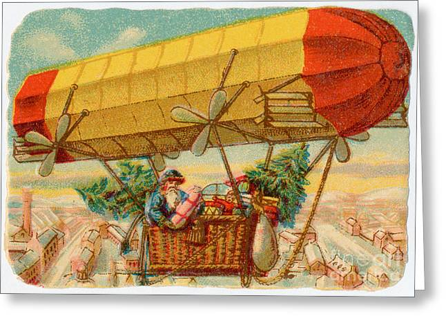 Father Christmas In Airship Greeting Card by Mary Evans