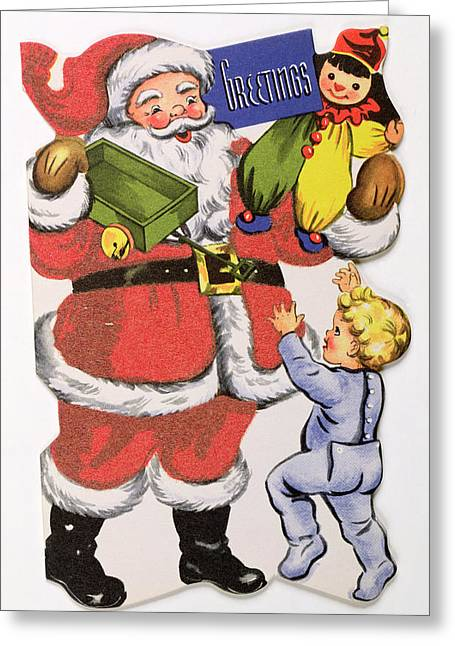 Father Christmas, Victorian Christmas Card Greeting Card by English School